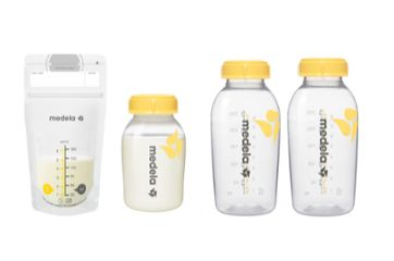Medela group shot of breast milk collection products